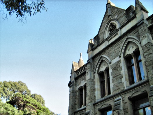 A building at the University of Melbourne, with Gothic architectural features