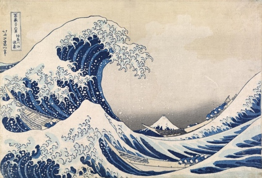 The Great Wave off Kanagawa, Hokusai (c. 1830). Colour woodblock.
